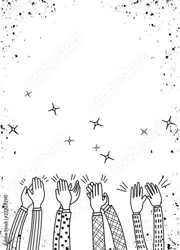 Human hands clapping ovation. doodle style ,vector illustration Canvas Print