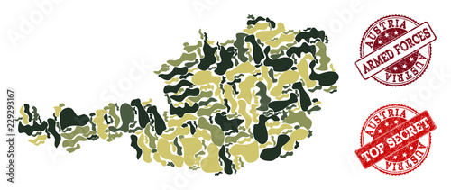 Photo  Military camouflage combination of map of Austria and red grunge seal stamps