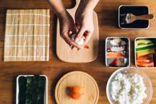 Chef Making A Sushi Dish