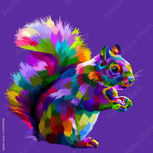 Платно  colorful squirrel on pop art vector illustration