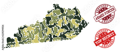 Photo  Military camouflage collage of map of Kentucky State and red rubber seals