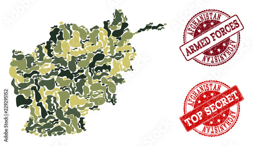 Photo  Military camouflage combination of map of Afghanistan and red rubber stamps