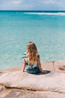 Woman enjoyoing at paradise beach