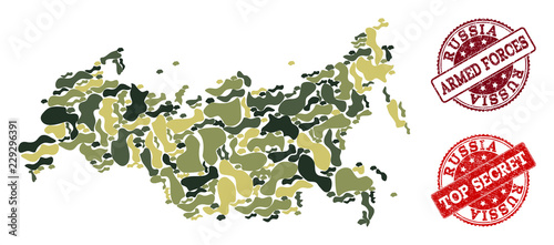 Photo  Military camouflage combination of map of Russia and red rubber seals