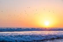 California Ocean Sunset From Santa Monica Beach