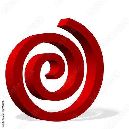 Printed kitchen splashbacks Spiral Rote Spirale vor weißem Hintergrund