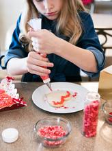Valentine: Girl Outlining Hear...