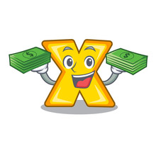 With Money Cartoon Multiply Sign For Calculate Math