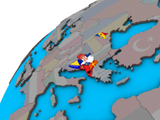 CEFTA countries with flags on 3D globe
