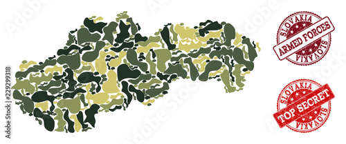 Photo  Military camouflage combination of map of Slovakia and red scratched stamps