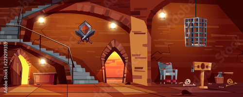 Vector cartoon background with medieval torture hall, Romanesque room of executioner Canvas-taulu