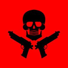 Skull And Gun Symbol. Army Sig...
