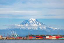 Port Of Tacoma And Mount Rainier