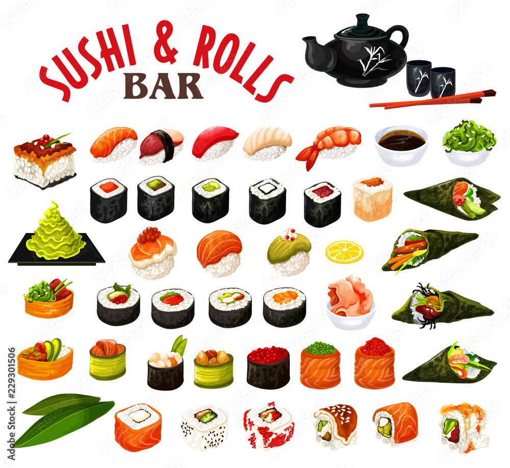 Fototapety, obrazy: Japanese sushi and rolls icons, vector seafood