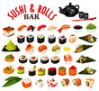 Japanese sushi and rolls icons, vector seafood
