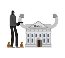 Bank Robbery. Robber And Bag O...