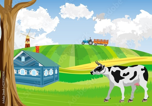 Countryside, farmland, green meadow and hills, agriculture theme, cow and village house