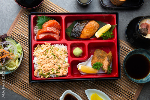 japanese bento set with teriyaki salmon and tempura Wallpaper Mural