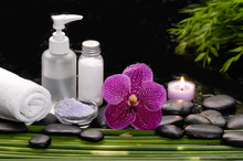 Tranquil Spa Scene- Pink Orchid With Towel, Candle With ,green Plant Palm