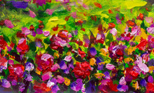 Painting Abstract Mix Colorful Pansy Flowers Background. Horizontal Seamless Background With Violet And Purple Pansies Artwork Floral Landscape
