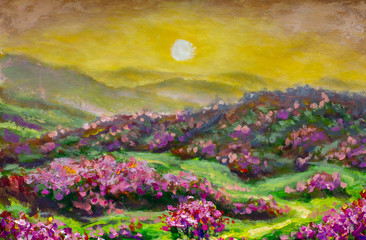 Fototapeta Góry Original oil painting, contemporary style on stretched canvas, palette knife and brush - Sun big, sunset over a mountain flower landscape artwork