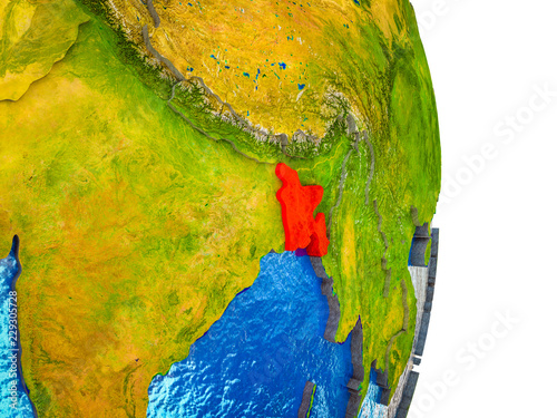 Staande foto Kameleon Bangladesh on 3D model of Earth with divided countries and blue oceans.