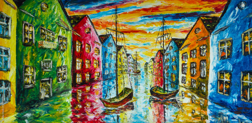 Fototapety, obrazy: Original art oil and palette knife on canvas - Venice, Amsterdam painting artwork - boats float in the water, the canal, colorful bright houses - impressionism landscape, expressionism, illustration