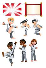 Karate Taekwondo Kids Illustra...