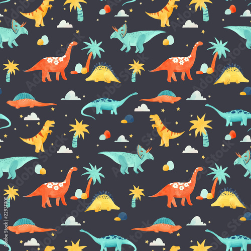 Papel de parede Watercolor dinosaur baby vector pattern