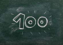 Number One Hundred, 100 Drawn On Chalkboard, Blackboard Background, Texture