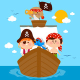 Pirate boys and their parrot sailing on a ship. Vector illustration