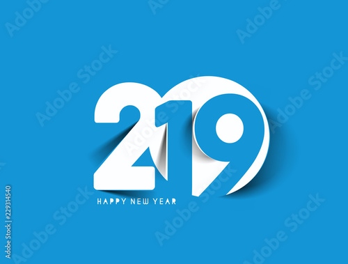 Fotografia  Happy New Year 2019 Text Design  Patter, Vector illustration.