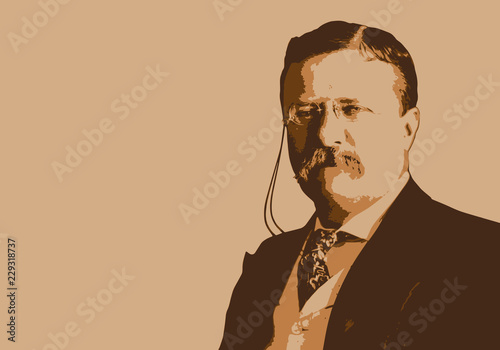 Leinwand Poster  Portrait de Théodore Roosevelt, célèbre président des États-Unis du début du 20è