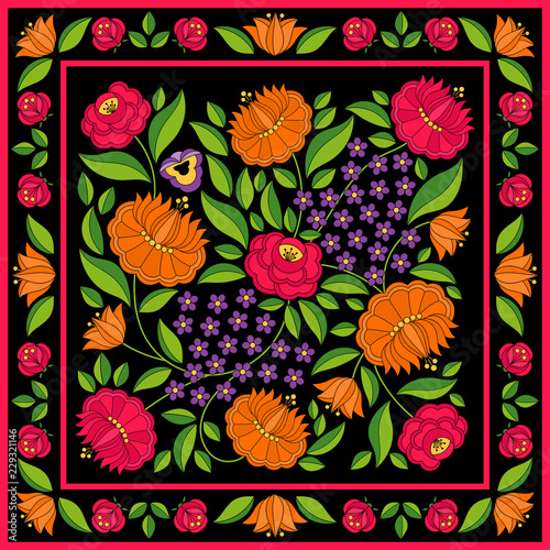 hungarian-folk-pattern-vector-kalocsa-floral-ethnic-ornament-women-silk-scarf-bandana-print-vintage-traditional-flowers-design-slavic-eastern-european-embroidery-on-black-background