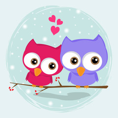 Fototapeta Greeting card two loving owls, happy birds are sitting on a tree.