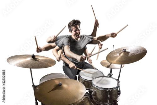 Photo Schlagzeuger mit vielen Armen isoliert auf weiß