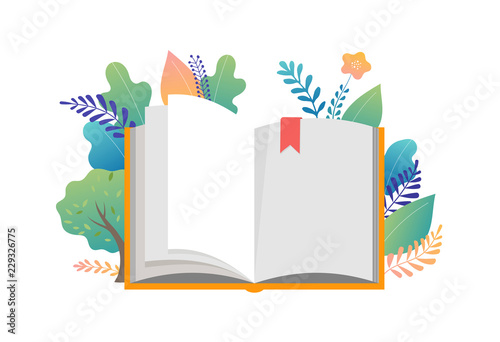 Obraz Book festival concept - a group of tiny people reading a huge open book. Vector illustration, poster and banner - fototapety do salonu
