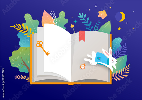 Foto Book festival concept - a group of tiny people reading a huge open book