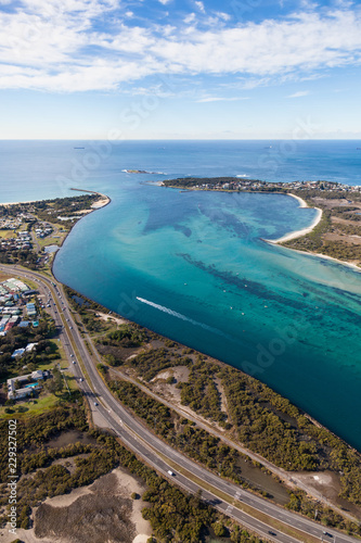 Poster Oceanië Swansea Channel - Lake Macquarie New South Wales Australia - Aerial View. Located just south of Newcastle Swansea is the opening to Lake Macquarie a large salt water lake.