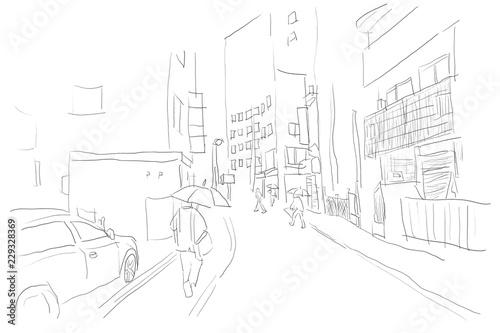 雨のストリート日本東京の街並み傘をさす人たち線画塗りなし