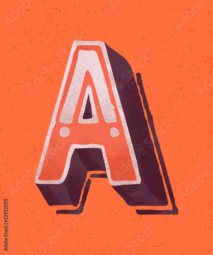 Capital letter A vintage typography style Canvas Print