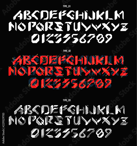 Futuristic font in geometric style  Conceptual Layout for