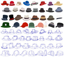 White Background, Men's And Women's Hat, Set