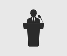 Speaker Icon On Gray Backgroun...