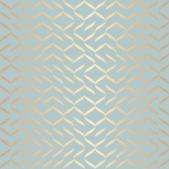 Panel Szklany Wzory geometryczne Seamless vector geometric golden element pattern. Abstract background copper texture on blue green. Simple minimalistic graphic print. Modern turquoise trellis grid. Trendy wrapping paper design.