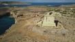 4k Drone - St. Mary's Watchtower overlooking the Blue Lagoon. Malta.