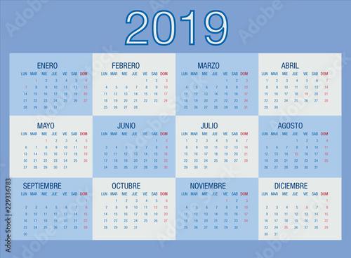 Calendario Vector.Calendario 2019 En Espanol Con Festivos Azul Crema Buy This