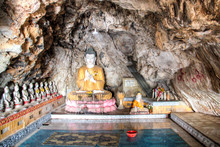 Buddha Statues At The Bayin Nyi Cave In Hpa-An In Myanmar