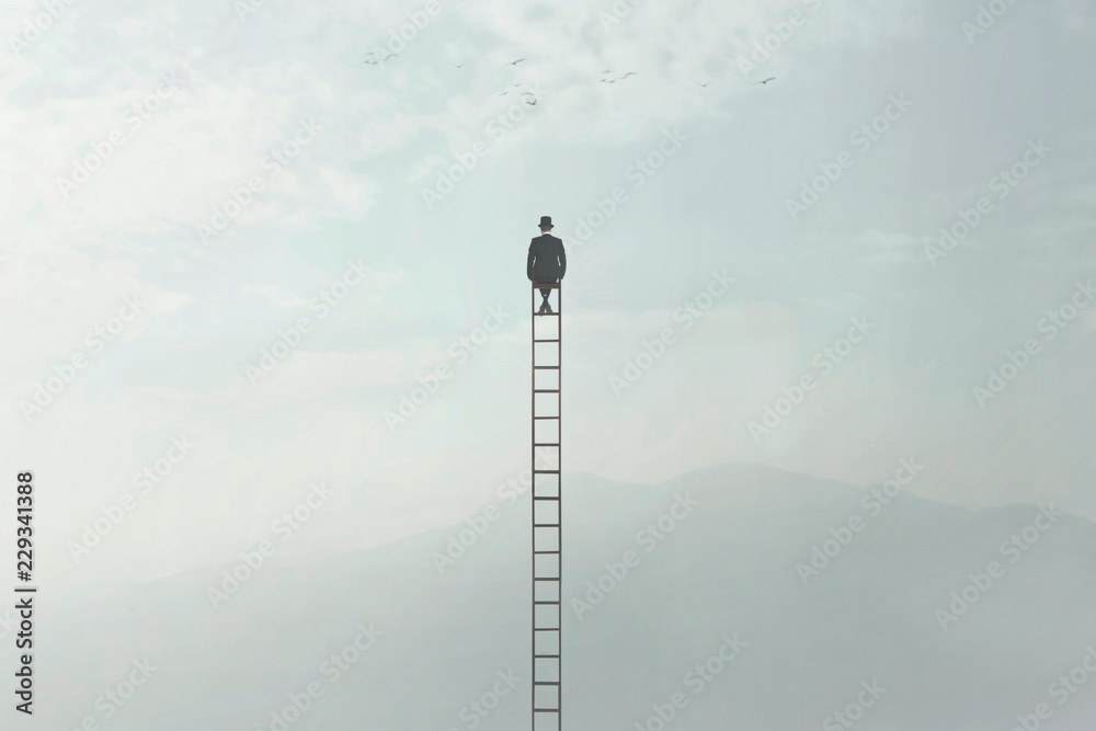 surreal image of a man who is sitting on a very high ladder in the middle of nature - obrazy, fototapety, plakaty