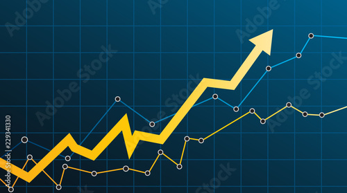 Tela Abstract financial chart with arrow